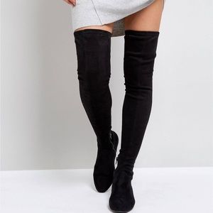 ASOS KASBA Flat Over the Knee Boots Black UK 8